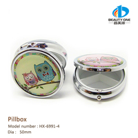 HX-6991-4 Wholesale Bling Small Home Decorative Owl Series Metal Indian Pill Box