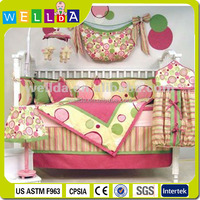 Luxury colorful cotton baby crib bedding set