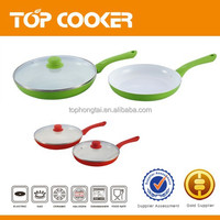 Easy clean up nonstick large ceramic frying pan with lid