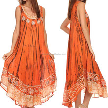 100% Cotton Embroidered Long Sleeveless Floral Caftan Maxi Dress / Cover Up