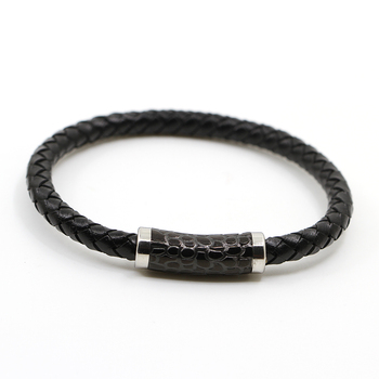 Mens Stainless Steel Jewelry Black Braided Leather Bracelet Wholesale