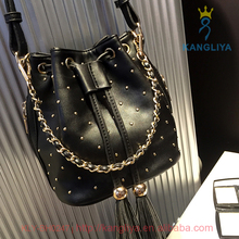 Chain tote handle edging accessory bucket shape ladies long pu leather shoulder handbag
