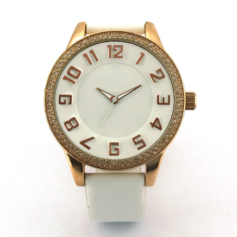 Geneva Alloy crystal Vogue lady leather crystal watch
