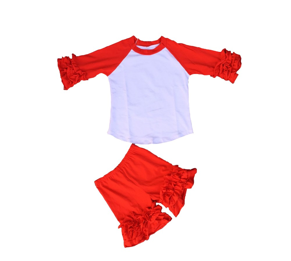 Baby girl blank icing raglan shirts icing shorts set kids outfits cotton ruffle clothes