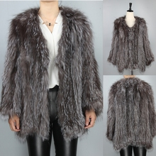 2017 Hot New Design Ladies Winter Wear Silver Fox Fur Coats Sex Womens