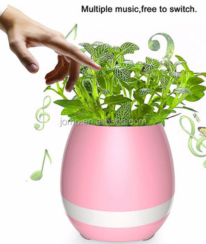 Cheap wholesale music plant pots 2017 Amazon most popular led bluetooth office indoor flower pots from Chinese supplier