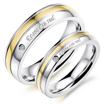 Titanium Stainless Steel Gold Edges Wedding Couple Rings Cubic Zirconia Engagement Promise Band Rings