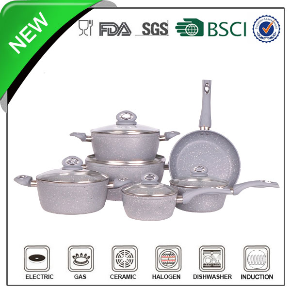 Popular FDA standard aluminum marble coating oil jacketed cooking pot