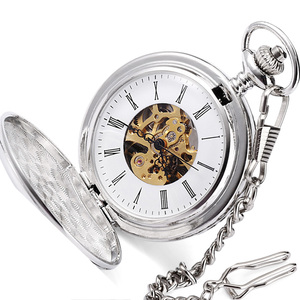 2019 custom twin opening fine polishing men watches roman numerals high quality silver mechanical pocket watch