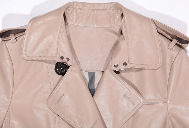 Top Quality Elegant Beige Pea Coat Leather Jacket
