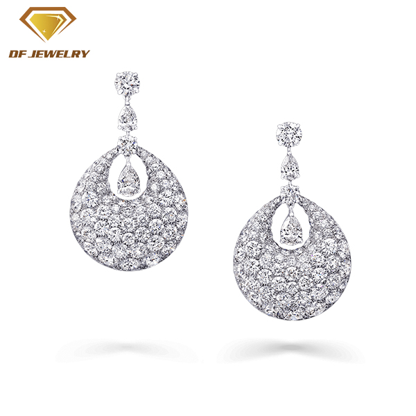 Women Hoop Earrings Micro Pave CZ Silver Tassel Earring