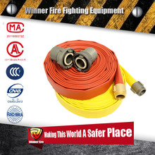 Red yellow layflat fire hose with rubber cover and coupled aluminum storz coupling
