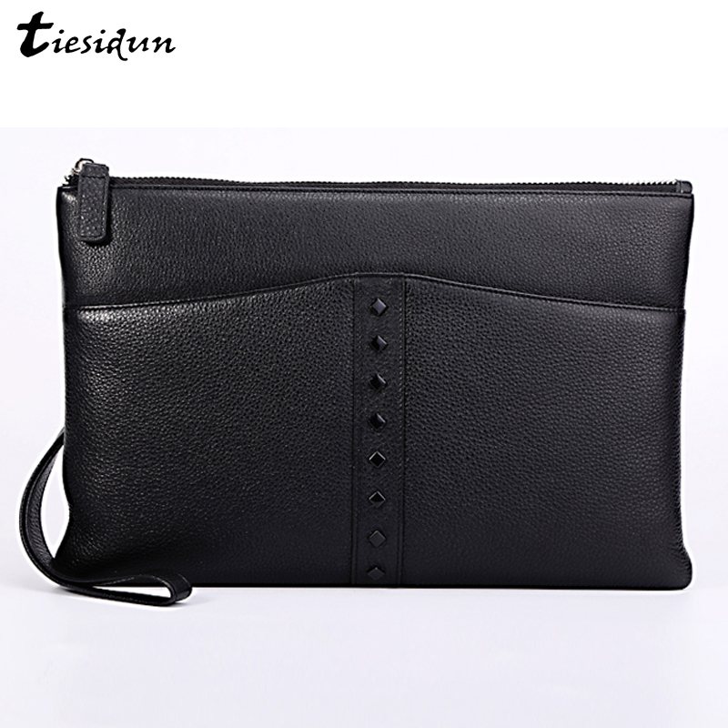 100% Genuine Leather Handbags Mens Clutch Bag With Zipper Strap