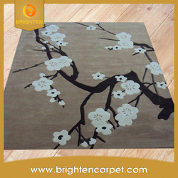 High quality home decorative 3D flower wool hand tufted rug