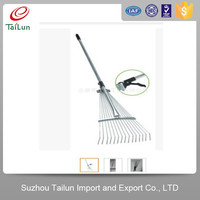 telescopic spring steel retractable hay rake with 15 tines