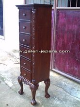 Tall Boy Storage Cabinet - Antique Reproduction Furniture - French Cabinet Drawers with Handle