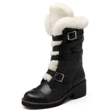Fashion sexy Wool Medium Heel Mid Calf Boots Genuine Leather Fur Buckle Women Winter Snow long boots for lady OCA262