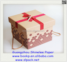 popular cardboard gift box for birthday or wedding and Dot Ribbon Bow