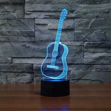 Wholesale Guitar Acrylic 3d Illusion LED Table Lamp