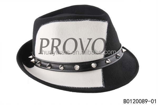 Men high fashion white and black color fedora hat with studs