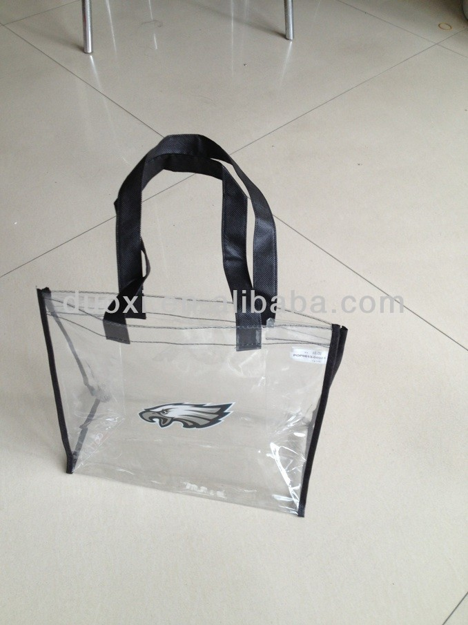 Eco-friendly material clear pvc tote bag with long handles 100% manufacturer