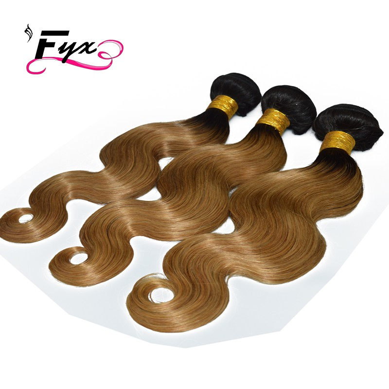 3 bundles 1B27# Brazilian Virgin Remy hair Body Wave Human Hair Weave Extensions Fast shipping Alibaba Express 9A Unprocessed