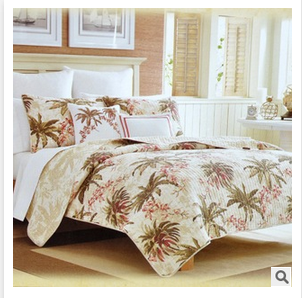 American home textile cotton patchwork bedding sets with Hawaii coconut trees printed