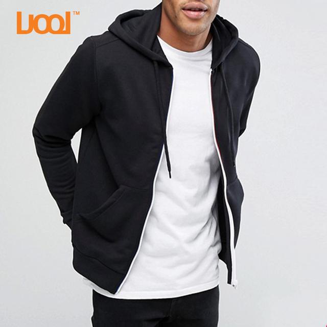 80% Cotton 20% Polyester Soft Man Hoodie Sweatshirt White Zipper Black Hoody