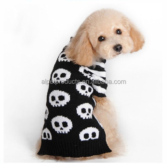 Pet Dog Skeleton Knitwear Cold Weather Outfit Clothes Skull Cable Knit Turtleneck Sweater for Small Dogs & Cats