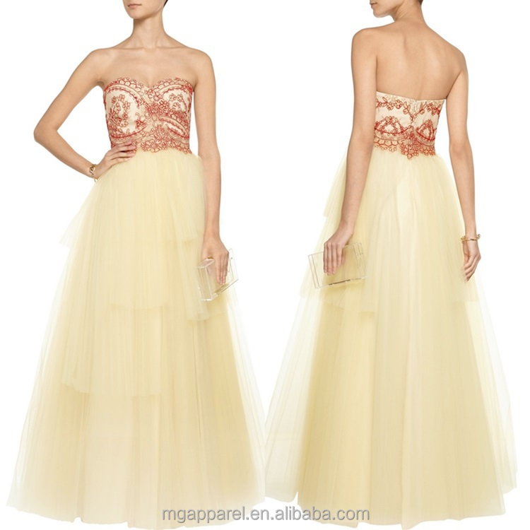 latest gown designs long prom ball tulle evening dress sexy strapless wedding bridal gown