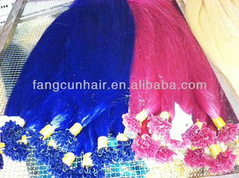 high quality indian blue and pink remy nail hair extension/Italy keratin bond hair extension