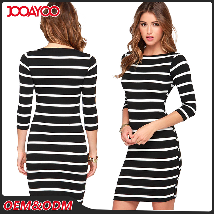 Latest Design Casual Style Half Sleeve Women Dresses Stripe Lady Fashion Black Dress