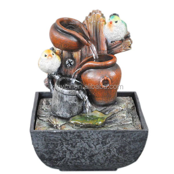 ResinJar & bird indoor water fountain for tabletop decor