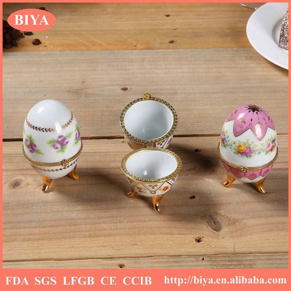 rwedding favor gift ring rolls boxes custom hand painted decal ceramic decorative egg ring jewelry box or trinket box women need