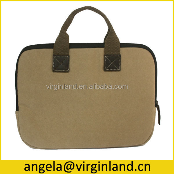 Durable Custom Casual Canvas 14 inch Laptop S ve Bag with Leather Handle