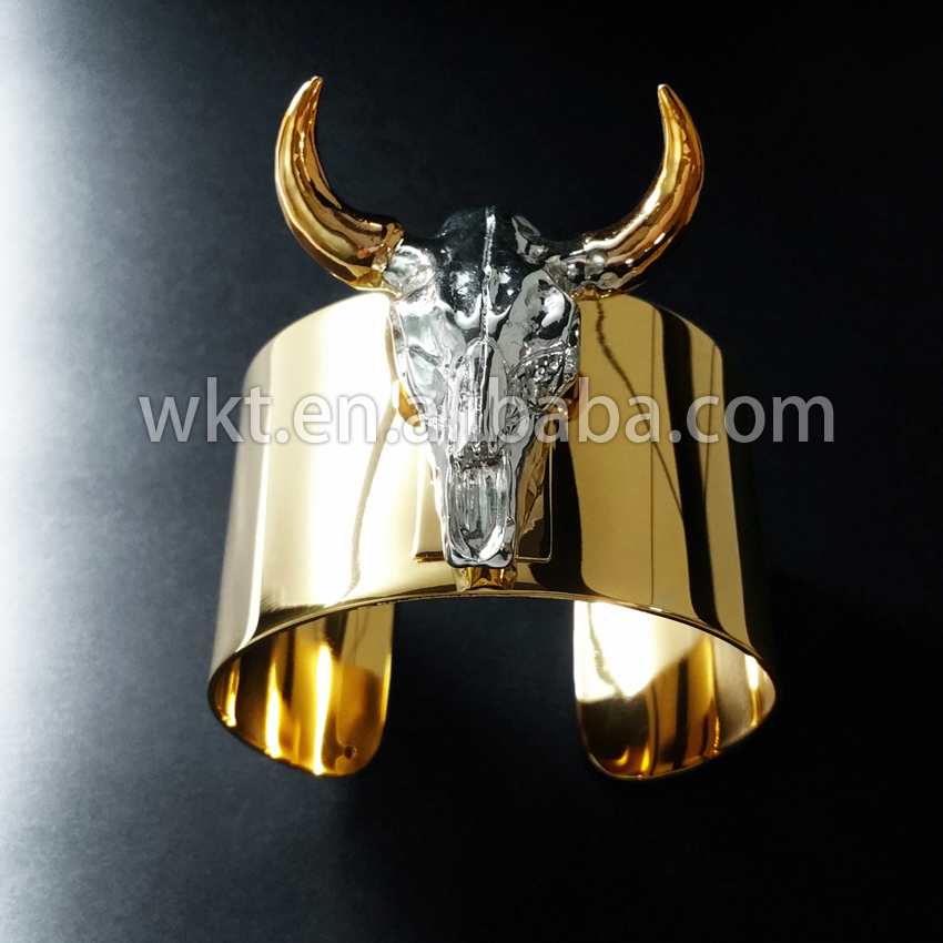 WT-B190 Exclusive Itally 24K IPG Top quality buffalo cattle horn bangle, fashion gold brass big bangle