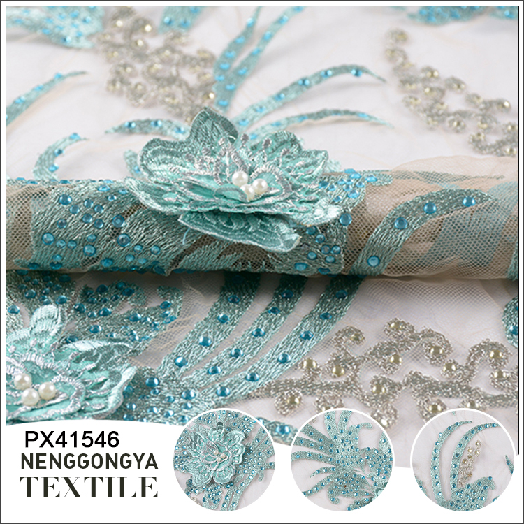 Shaoxing polyester handwork pearl lace embroidered fabric with rhinestone