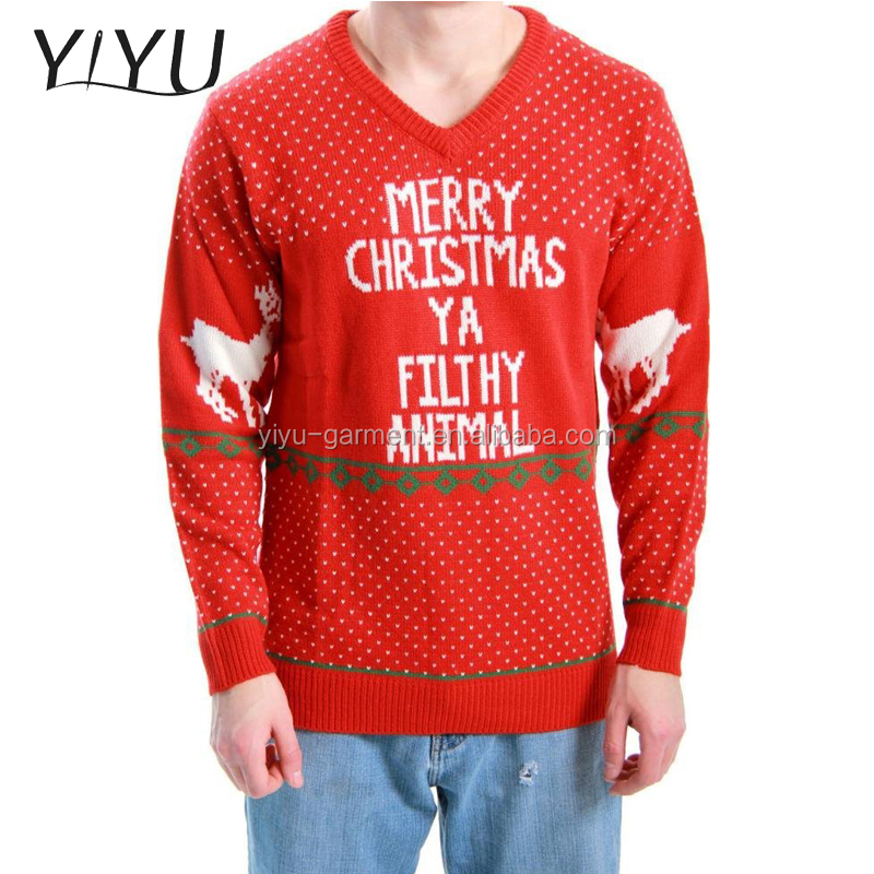 2017 latest Designs men's red jacquard christmas jumper,Ugly Christmas knit sweaters