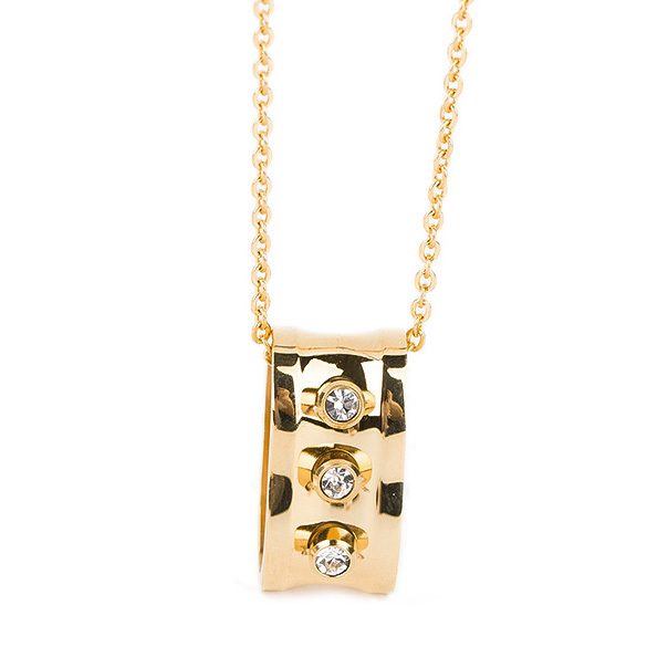 Simple Style Stainless Steel Jewelry Crystal Gold Necklace Designs In 10 Grams