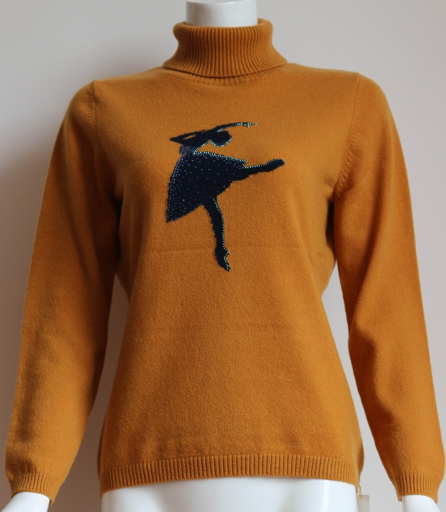 Customzing jacquard women cashmere pullover
