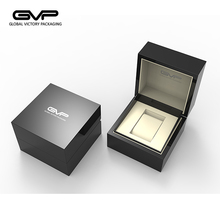 Custom made luxury wooden watch packaging box with black piano paint for single watch
