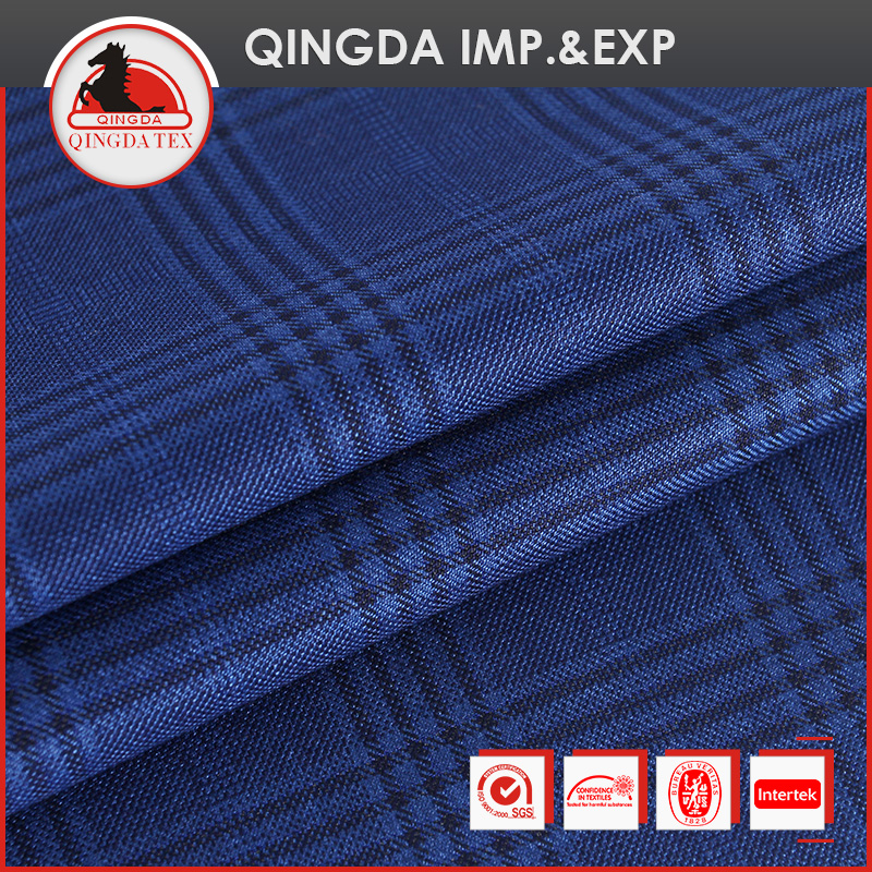 Hot sales check design 85% polyester 15% viscose men's suiting fabric