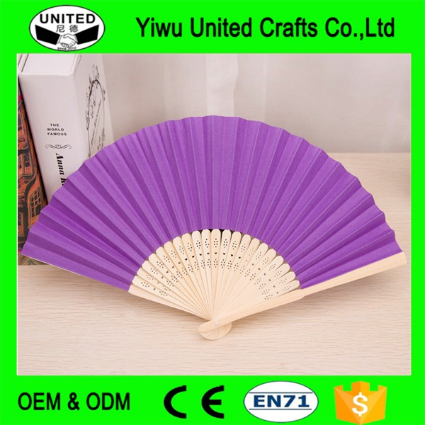mini cute plain color paper hand fan with natural bamboo frame