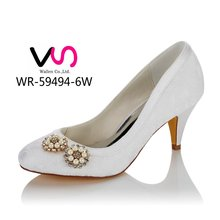 New Special lace upper with pearls comfortable low heel bridal wedding shoes dress shoes for wedding made in china