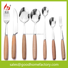 flatware with wooden handle flatware,Home Essential Cutlery,Used Restaurant Tableware 7pcs stainless steel cutlery set