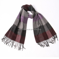 inner mongolian mens 100% pure cashmere scarf in plaid