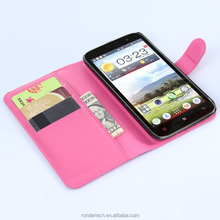 China supplier Lichee Pattern Stand Flip Leather Case for lenovo A850