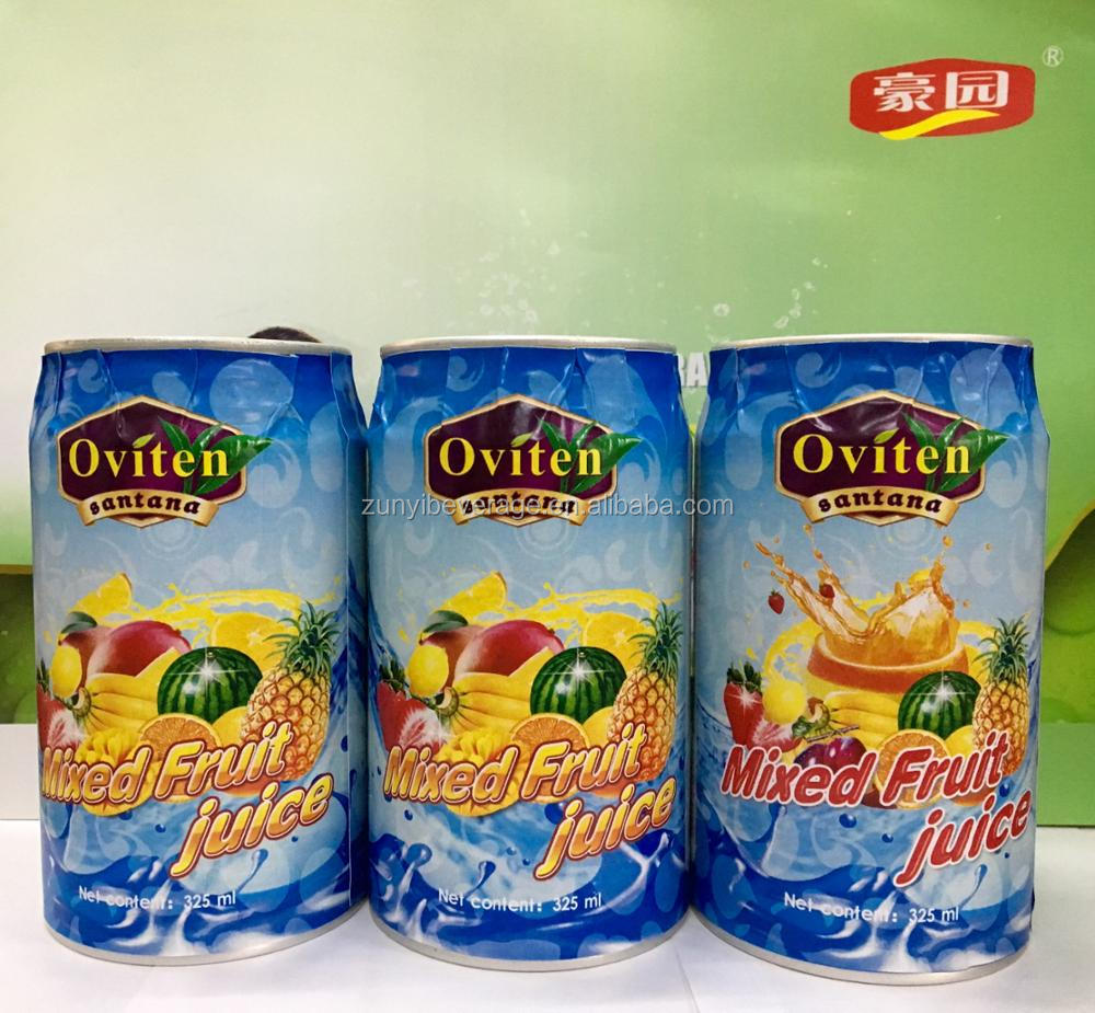 Natural healthy 30% mixed fruit juice in 325ml tin can