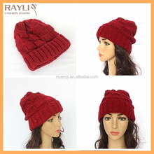 Trendy western style charming christmas red women slouch ski cap hat winter baggy beanie hat