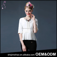 Summer Fashion Design Short Sleeve Casual Lady Shirt Embroidery Crimp Woman Blouse